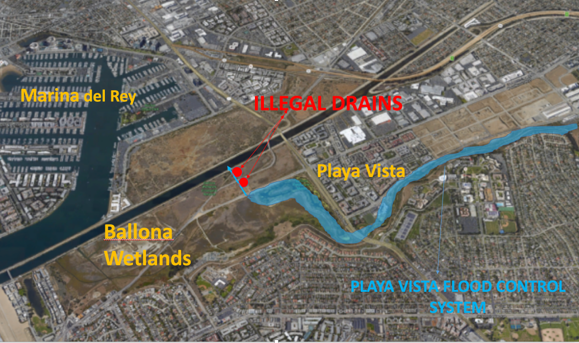 Map of Two Illegal Playa Vista Drains. Screen Shot 2017-03-30