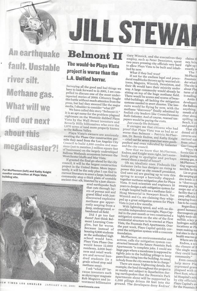 Sierra.Club_.Angeles.Chapter.Airport.Marina.Group_.History.Belmont.II_.2001.January.4-10.by_.Jill_.Stewart.New_.Times_.Los_.Angeles.Playa_.Vista_.Methane.Gas_.Mitigation.Ballona.Wetlands