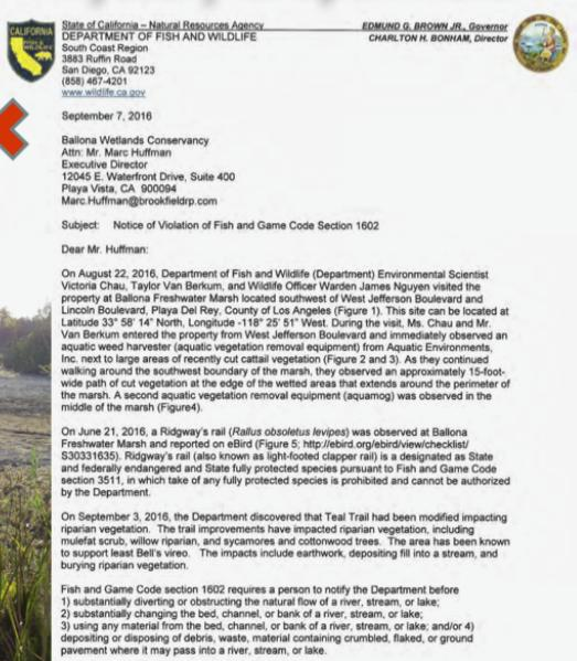 Violation.Letter.to_.Marc_.Huffman.of_.Brookfield.and_.Ballona.Wetlands.Conservancy.from_.Fish_.and_.Game_.for_.destruction.in_.Riparian.Corridor.diverting.water_.burying.vegetation.disposing.of_.debris.endangering.protected.Ridgways.rail_.jpg